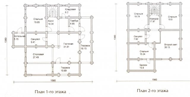 Схема проекта дома из оцилиндрованного бревна ДБ-62