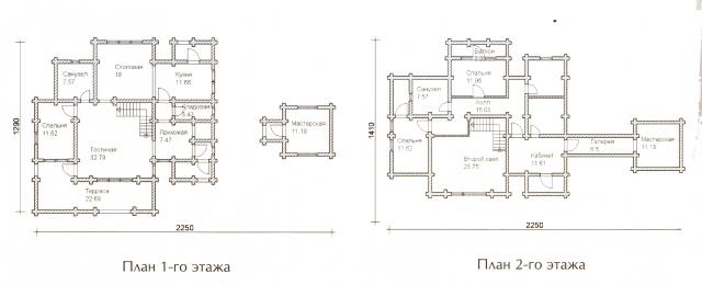 Схема проекта дома из оцилиндрованного бревна ДБ-63