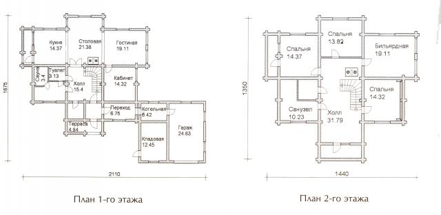 Схема проекта дома из оцилиндрованного бревна ДБ-64