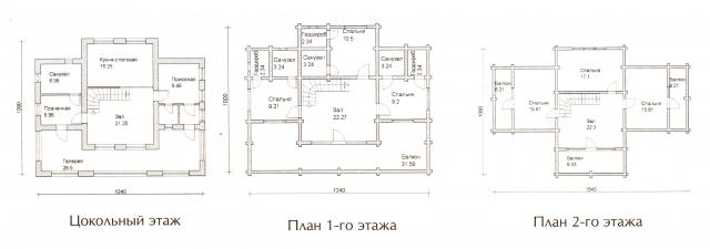 Схема проекта дома из оцилиндрованного бревна ДБ-65