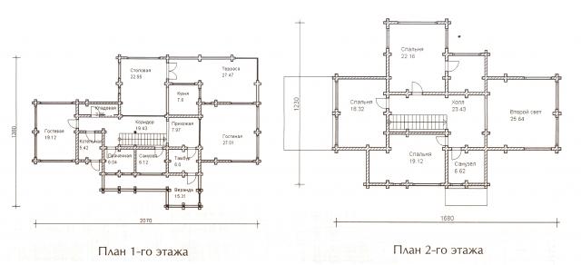 Схема проекта дома из оцилиндрованного бревна ДБ-66
