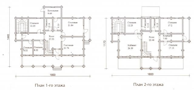 Схема проекта дома из оцилиндрованного бревна ДБ-67