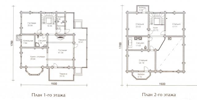 Схема проекта дома из оцилиндрованного бревна ДБ-68