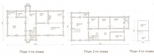 Схема проекта дома из оцилиндрованного бревна ДБ-69