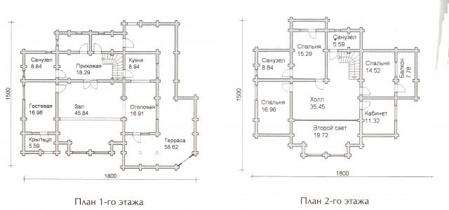 Схема проекта дома из оцилиндрованного бревна ДБ-70