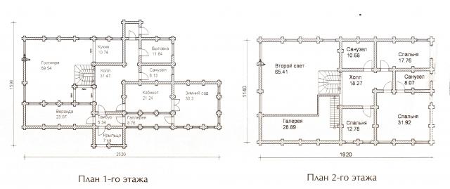 Схема проекта дома из оцилиндрованного бревна ДБ-71