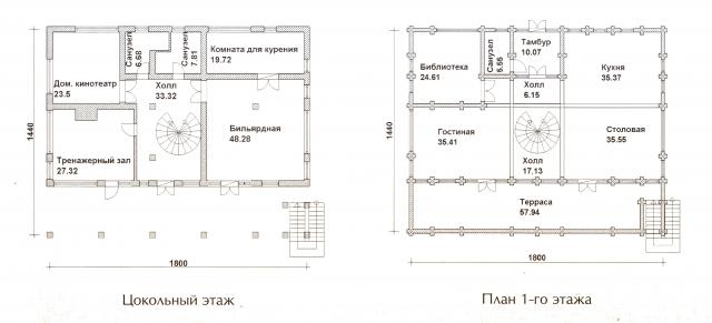 Схема проекта дома из оцилиндрованного бревна ДБ-72