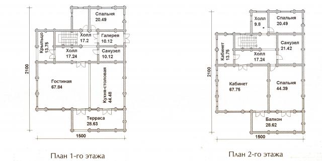 Схема проекта дома из оцилиндрованного бревна ДБ-73
