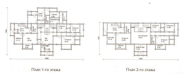 Схема проекта дома из оцилиндрованного бревна ДБ-74