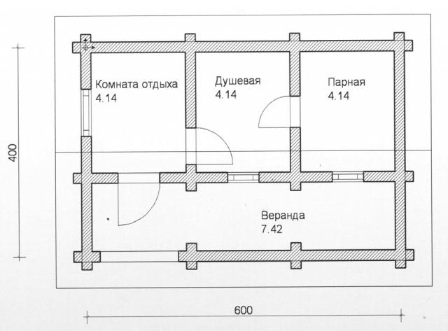 Схема проекта бани из оцилиндрованного бревна ДБ-76