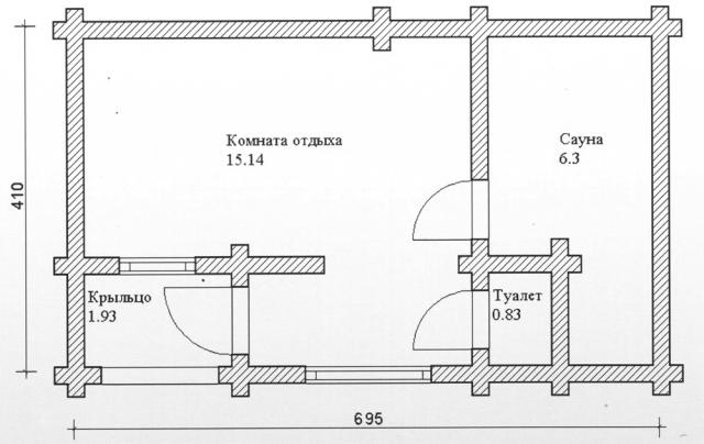 Схема проекта бани из оцилиндрованного бревна ДБ-77