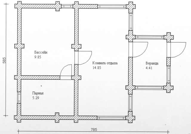 Схема проекта бани из оцилиндрованного бревна ДБ-78