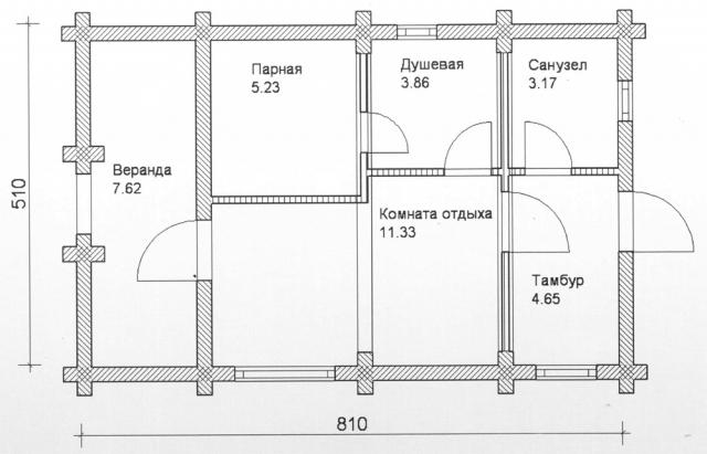 Схема проекта бани из оцилиндрованного бревна ДБ-79