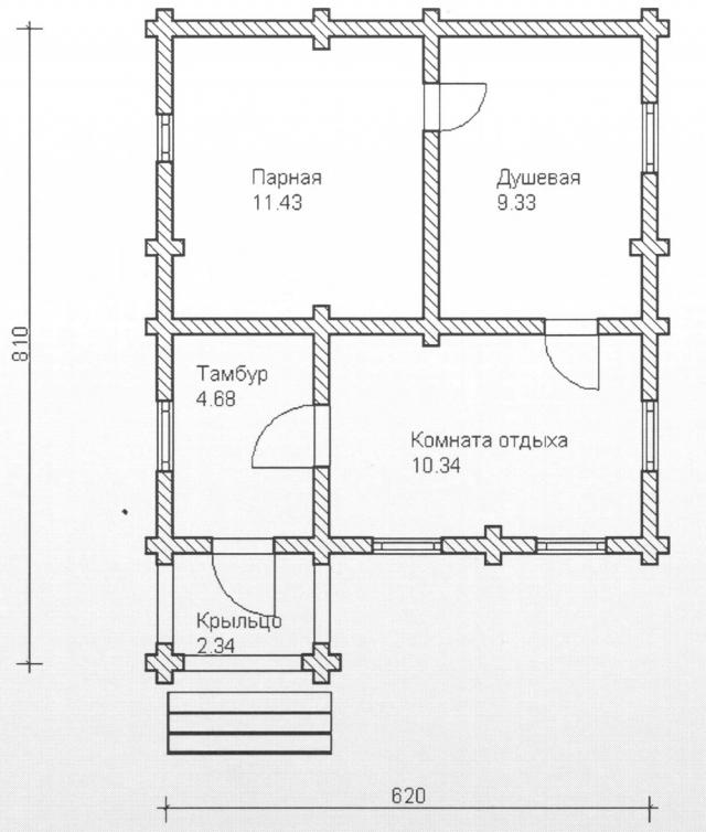 Схема проекта бани из оцилиндрованного бревна ДБ-80
