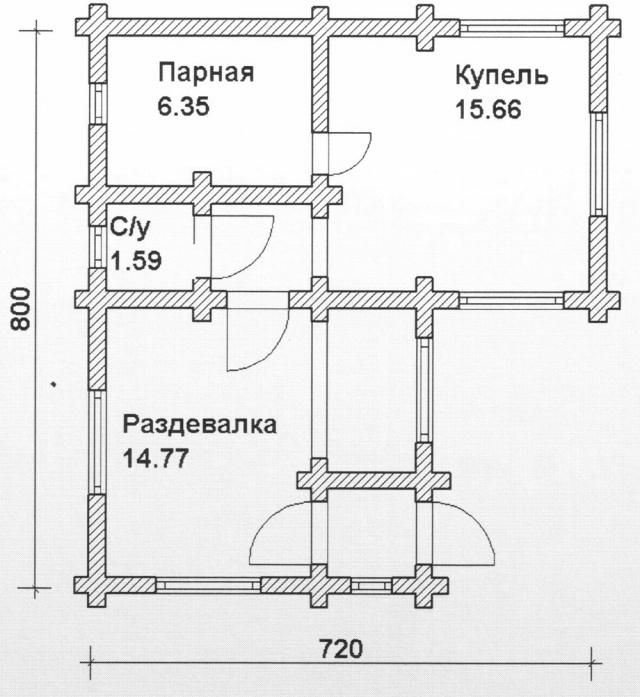 Схема проекта бани из оцилиндрованного бревна ДБ-81