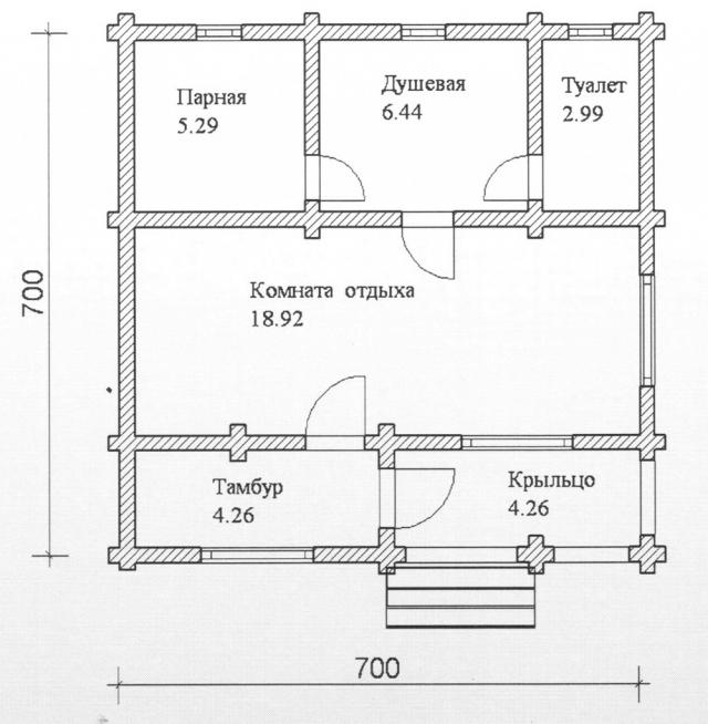 Схема проекта бани из оцилиндрованного бревна ДБ-82