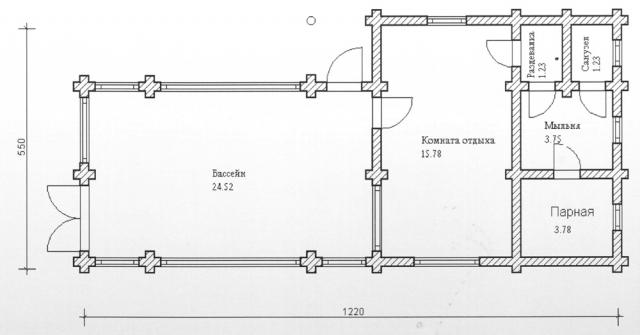 Схема проекта бани из оцилиндрованного бревна ДБ-83