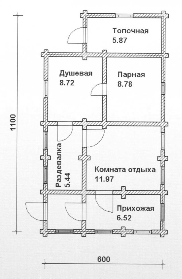 Схема проекта бани из оцилиндрованного бревна ДБ-84