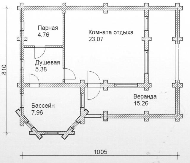 Схема проекта бани из оцилиндрованного бревна ДБ-85