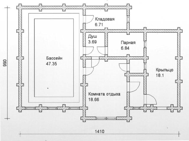 Схема проекта бани из оцилиндрованного бревна ДБ-86