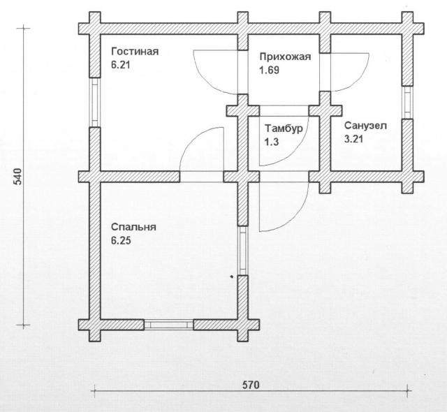 Схема проекта дома из оцилиндрованного бревна ДБ-88