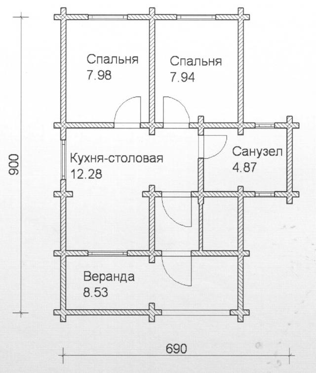Схема проекта дома из оцилиндрованного бревна ДБ-89