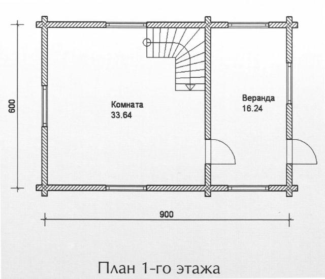 Схема проекта дома из оцилиндрованного бревна ДБ-91