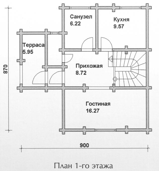 Схема проекта дома из оцилиндрованного бревна ДБ-92