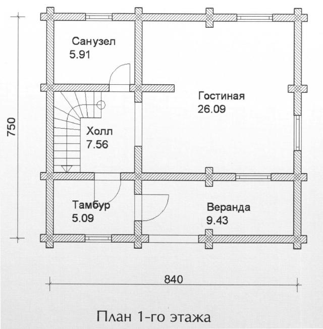 Схема проекта дома из оцилиндрованного бревна ДБ-93