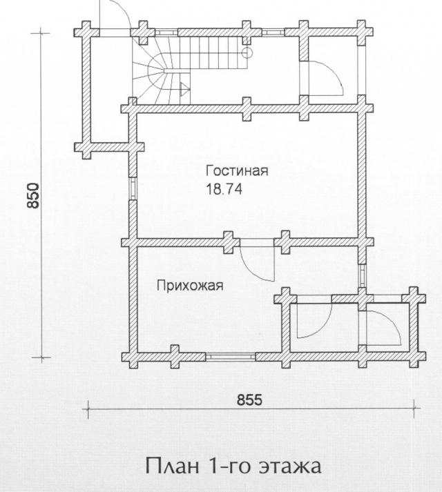 Схема проекта дома из оцилиндрованного бревна ДБ-94