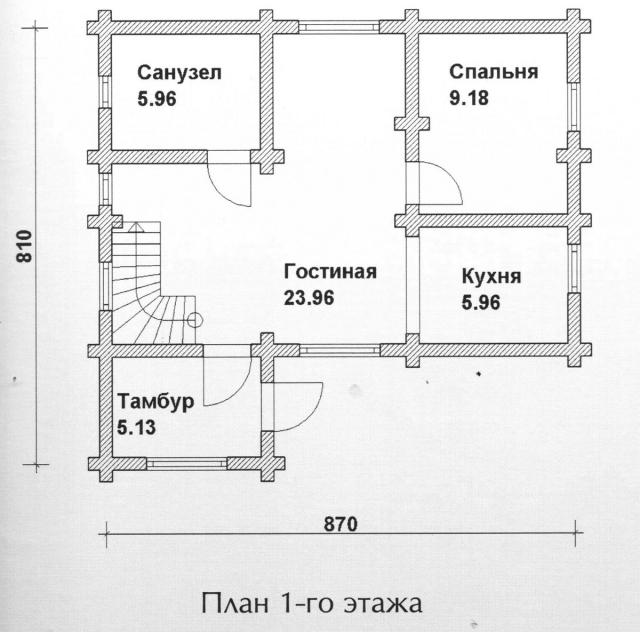 Схема проекта дома из оцилиндрованного бревна ДБ-95