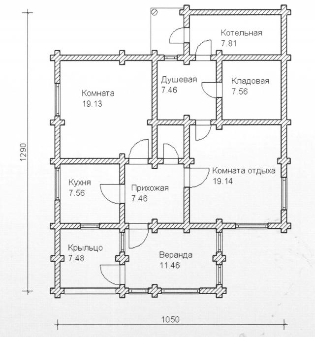 Схема проекта дома из оцилиндрованного бревна ДБ-97