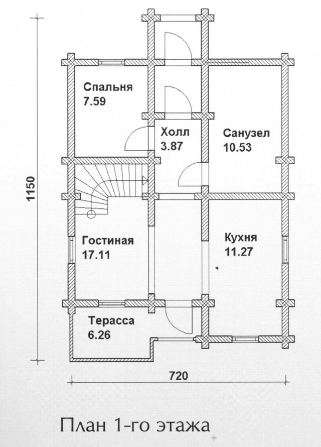 Схема проекта дома из оцилиндрованного бревна ДБ-98