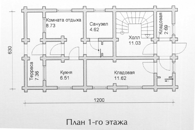 Схема проекта дома из оцилиндрованного бревна ДБ-99